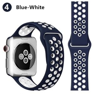 NEW BLUE-WHITE Sport Silicone Band for Apple Watch